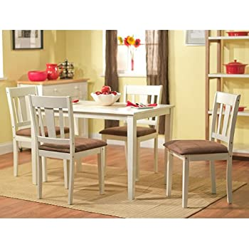 Amazon - Brodrick White  Piece Dining Set Rubber Wood