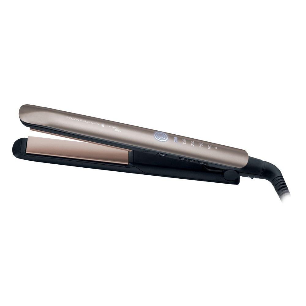 REMINGTON - Keratin Therapy - Lisseur S8590 Plaque Revêtu de Céramique XL de 110mm, 160-230 degrés, prête en 15 secs - Brun