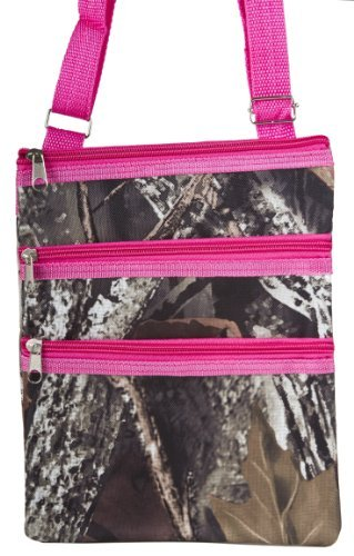 Tree Camouflage Print Small Hipster Cross Body Shoulder Bag Purse Handbag with Hot Pink (Camo Purses Cheap)
