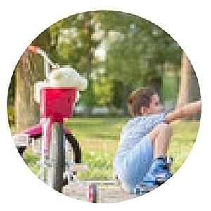 alfombrilla de ratón niña ayuda a niño con patines de ruedas para ponerse de pie - ronda - 20cm