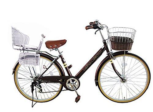 Lupinusルピナス 自転車 26インチ LP-266VA-KNR-S シティサイクル Vフレーム 籐風カゴ オートライト 後子乗せシルバー B073LN2BDF ブラウン ブラウン