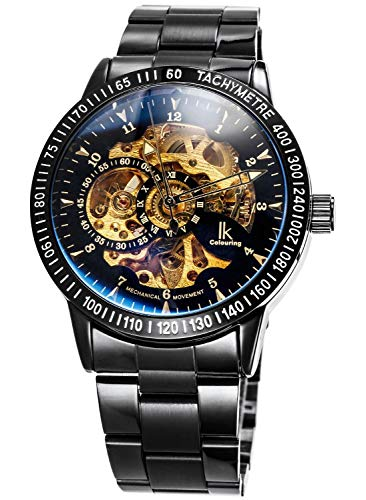 Carrie Hughes Men's Steampunk Automatic Mechanical Discoloration Glass Skeleton Stainless Steel Watch (98226G)