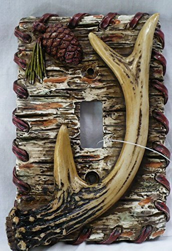 (Lodge Rustic Decor Antler Pinecone Tree Bark Single Light Switch Plate Covers)