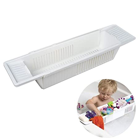 SAFRI White Plastic Bathtub Tray Bath Rack Kids Toy Storage Basket ...