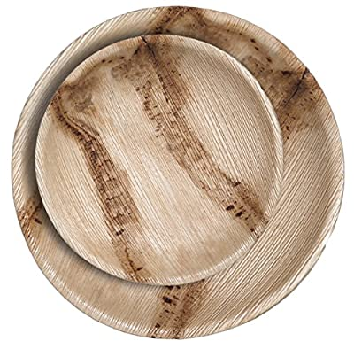 CaterEco Round Palm Leaf Plates Set (24 Pack) | (12) Dinner Plates and (12) Salad Plates | Ecofriendly Disposable Dinnerware | Heavy Duty Biodegradable Party Utensils for Wedding, Camping & More
