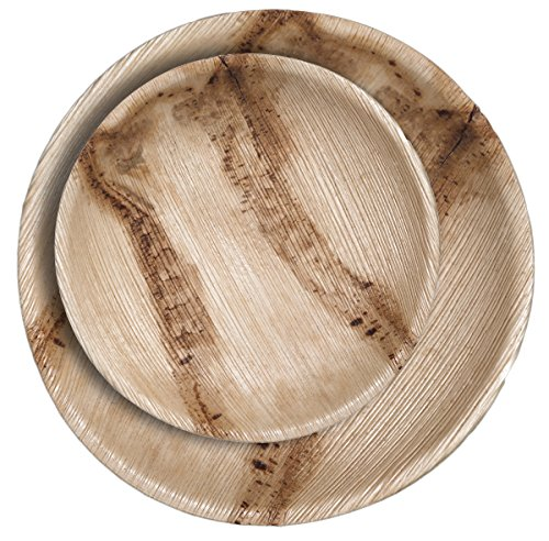CaterEco Round Palm Leaf Plates Set (24 Pack) | (12) Dinner Plates and (12) Salad Plates | Ecofriendly Disposable Dinnerware | Heavy Duty Biodegradable Party Utensils for Wedding, Camping & (Bamboo Plate Set)