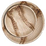 "CaterEco 200 Piece Palm Leaf Round Plate Set -  100 10"" Dinner Plate, 100 7"" Salad Plates - All Natural 100% Compostable Disposable Party Plates"