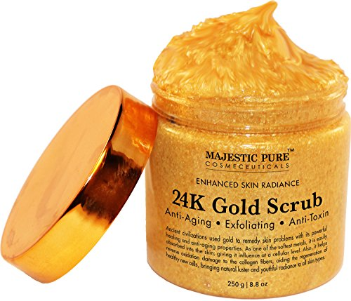 24K Gold Body Scrub and Facial Scrub from Majestic Pure, 8.8 Oz - Ancient Anti Aging Body and Face Scrub Formula Helps Bringing Youthful Radiance