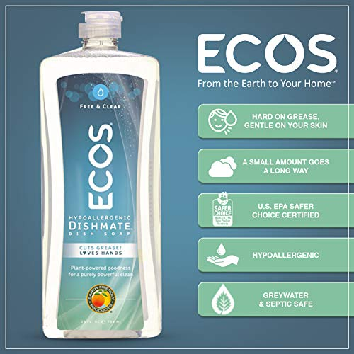 ECOS Dishmate Dish Liquid, Free and Clear 25 oz. (Pack of 2) للبيع