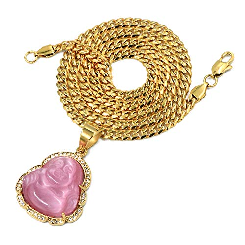 (Raonhazae Stainless Steel Gold Iced Out Smiling Chubby Buddha (Pink Jade) Pendant w/Cuban Chain (24))
