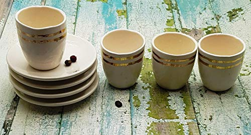 (4 Espresso Cups with a delicate gold stripe for decoration, Cup and saucer)