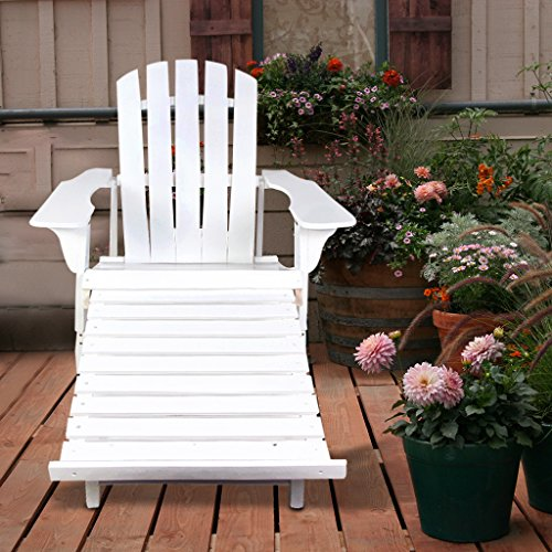 VH FURNITURE Wooden Adirondack Chair White Painting With Adjustable Footstool Fan Back Design (Outdoor Adjustable Adirondack Lounge)