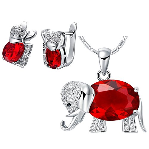 Morenitor [TM] Jewelry Set Austrian Crystal 18k White Gold Plated Alloy Elephant Pendant Necklace and Stud Earrings For Women Girls. (Red) (Red Elephant Necklace compare prices)