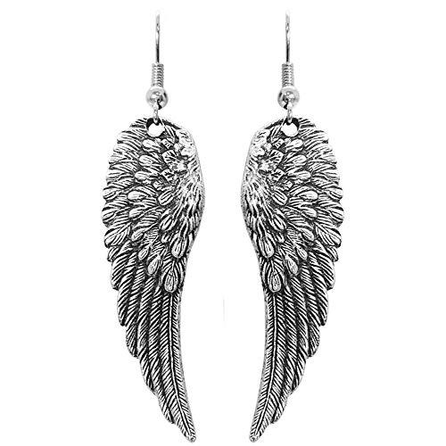 Angel Silver Tone Earrings - Nickel Free 1 7/8