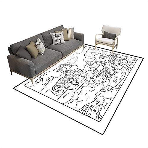 Kids Carpet Playmat Rug Coloring Book Zebra colorless Alphabet for Children Letter Z 5'x8' (W150cm x L240cm