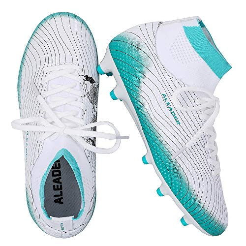 ALEADER Boys Girls Soccer Shoes Cleats Football Boots for Filed Training White/Aqua Sky 3.5 M US Big Kid