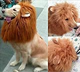 Looching 1Pcs Brown Lion Mane Costume Big Dog Lion Mane Wig Large Dog Costumes Wig Pet Festival Halloween Party Fancy Hair Clothes Dress with Ears(Neck 60-80 Cm - adjustable)