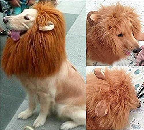 Looching 1Pcs Brown Lion Mane Costume Big Dog Lion Mane Wig Large Dog Costumes Wig Pet Festival Halloween Party Fancy Hair Clothes Dress with Ears(Neck 60-80 Cm,adjustable) -