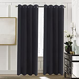 Aquazolax Blackout Curtain Panels for Bedroom Windows Thermal Insulated Grommet Top Blackout Draperies and Drapes, 2 Panels, 54-inch wide x 72-inch long, Black