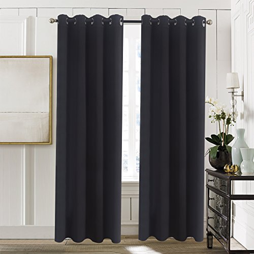 Blackout Curtain Panels for Bedroom Windows - Aquazolax Thermal Insulated Grommet Top Blackout Draperies and Drapes, 2 Panels, 54-inch wide x 72-inch long, Black (Long Curtain Panels 72)