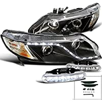 Honda Civic 4 Dr, Black R8 Style Led Strip Projector Headlights, Led Drl Pair