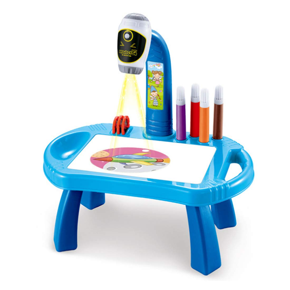 22925c48f038 Amazon.com  WOLFBUSH Drawing Projector Painting Desk with 32 Patterns  Adjustable Art Projector Educational Toy for Children 2 Years Old and up  (Blue)  Toys ...