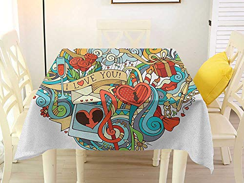 - L'sWOW Square Tablecloth Stripe I Love You Love Valentines with Eros Arrow Present Boxes Swirls Balloons Ring Marry Me Multicolor Chairs 50 x 50 Inch