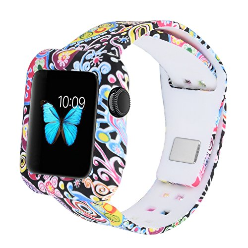 MLQSS Soft Silicone Shockproof Rugged Watch Band with Protective Case for Apple Watch 38mm 42mm,Sport Style Strap Bands Wristband for iWatch Series 3 Series 2 Series 1 Sport Edition