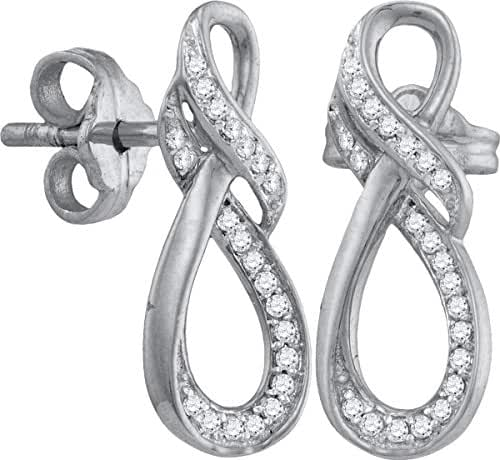 10kt White Gold Womens Round Diamond Infinity Screwback Earrings 1/6 Cttw