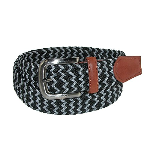 Arnold Palmer Mens Multi Color Braided Belt Black/Grey S ()