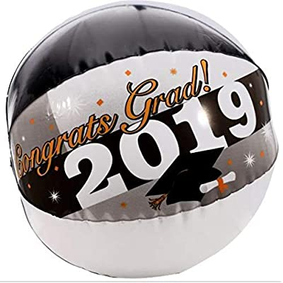 Greenbrier Graduation Party - Beach Balls - Inflatable Class of 2020 Beach Ball Keepsakes to Autograph or Toss - Graduation Decorations (Black + White + Yellow Single): Toys & Games