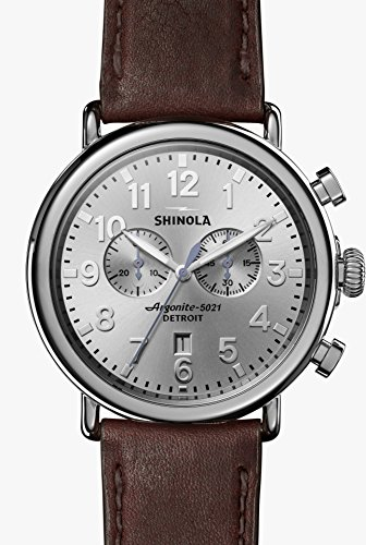 Shinola 47mm Runwell Chrono With Silver Dial and a Cattail Brown Grizzly Leather Strap