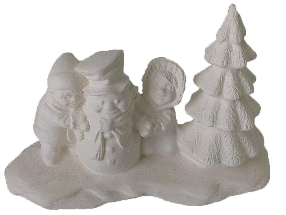 Village People Kids w/Snowman and Tree 5'' x 3'' x 2 1/2'' Ceramic Bisque