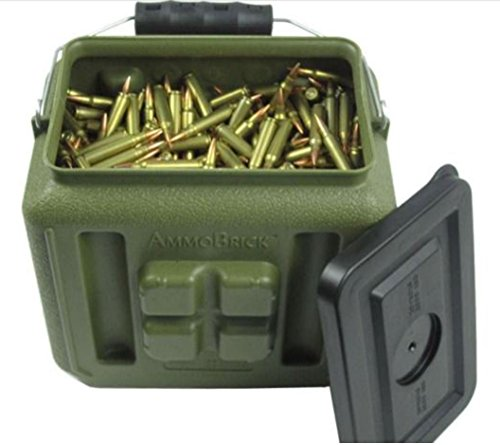 (WaterBrick Stackable Ammo Storage Container- AmmoBrick 1.6 Gallon Portable Ammunition and Bullet Storage Solution - Maximize Your Readiness…)