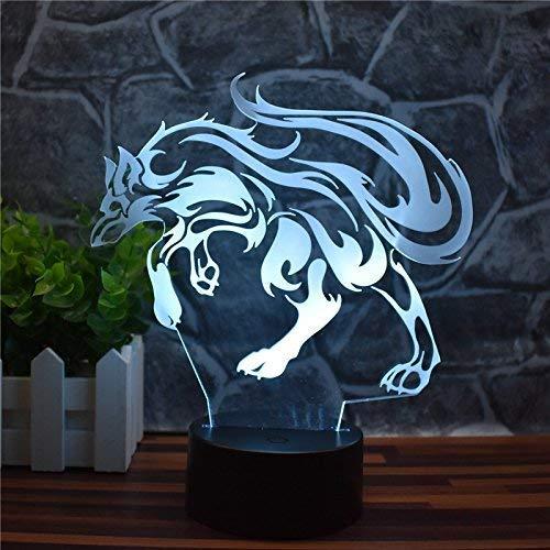 FORTR Home Underworld Wolf 3D Nachtlicht, LED USB Home Decor Tischlampe, Touch Fernbedienung 16 Farbverlauf Kreatives Büro Dekor, Kreative Geschenke, Kindergeschenke
