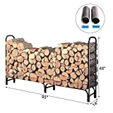 HollyHOME 8 Feet Large Heavy Duty Outdoor Firewood Racks Steel Wood Indoor Storage Log Rack Holder