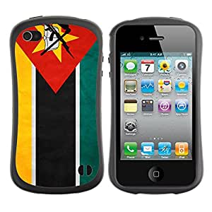 FlagF Premium Hybrid Ballistic Case Apple iPhone 4 / 4S - Mozambique Grunge Flag -