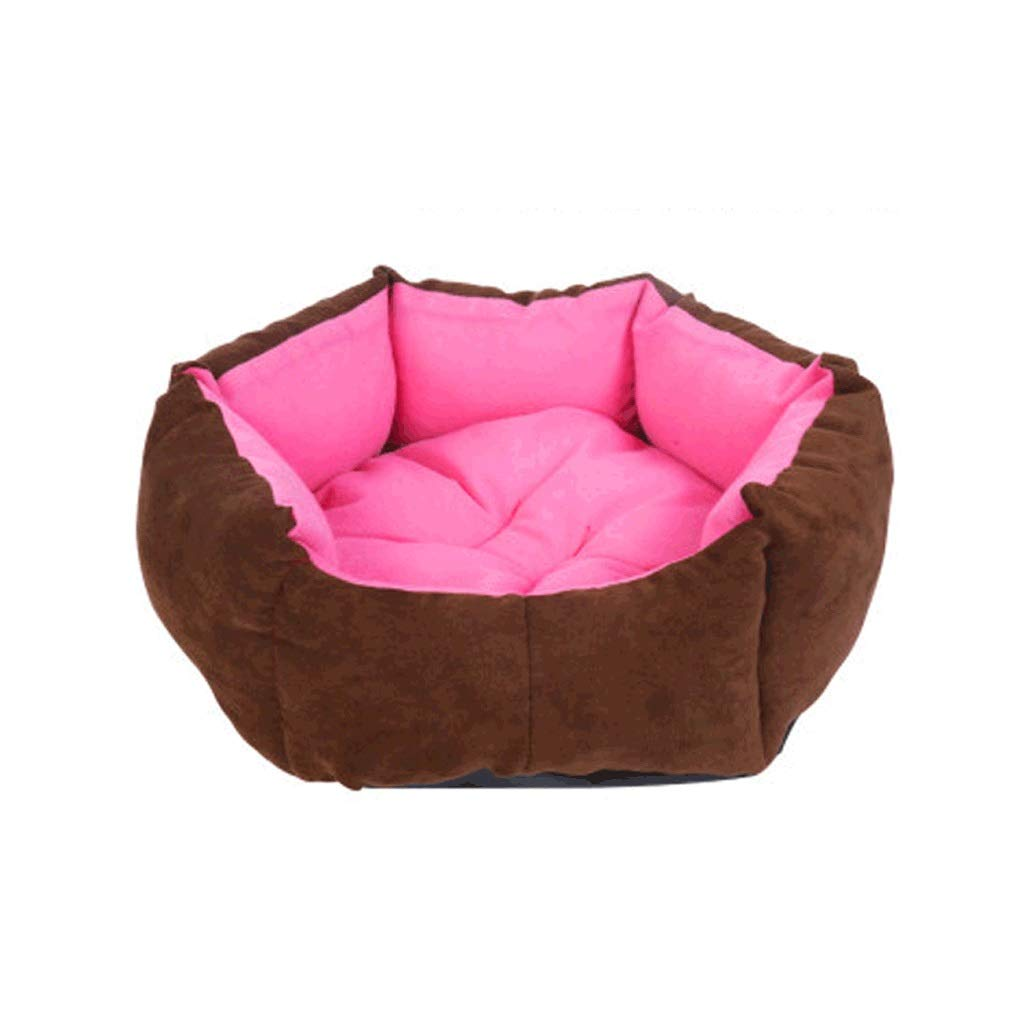 PINK M PINK M PLDDY pet bed Kennel, Dog Bed, Mat, Cat Litter, Pet Supplies, Nest, Mat, Ice Pad, Removable And Washable (color   PINK, Size   M)