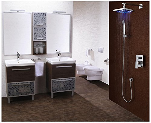 Sumerain S3073CL Volume Control LED Rainfall Shower Faucet, Chrome