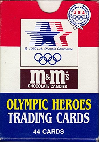 OLYMPIC HEROES 1984 Topps M&M Chocolate Candies COMPLETE Factory Trading CARD SET OF 44 Jim Thorpe, Muhammad Ali, Babe Didrikson -
