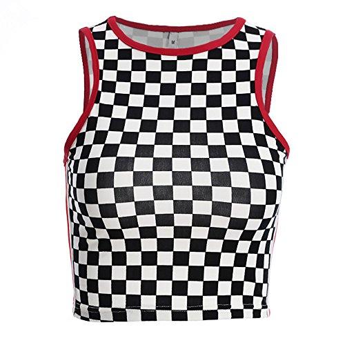 Azigongyey Women Black and White Plaid T-Shirt Checkerboard Sleeveless Streetwear Slim Waist T-Shirt