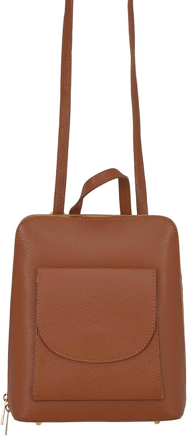 A to Z Leather Zaino 3 in 1 / Borsa a tracolla e borsetta - Vera pelle a grana italiana Abbronzatura