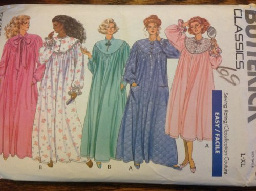 Butterick 4399 Sewing Pattern for misses L & XL front & bak curved button gathered yokes robe nightgown two lengths ()