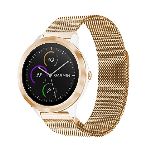 C2D JOY Garmin Vivoactive 3 Replacement Bands Milanese Stainless Steel Bands for Garmin Vivoactive 3/Vivomove hr/Forerunner 645/Music with Unique Magnet Lock Rose Gold(4.7-6.3in)