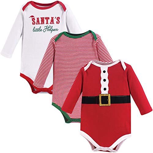 Little Treasure Unisex Baby Cotton Bodysuits, Santa's Helper 3-Pack Long-Sleeve, 12-18 Months (18M) -