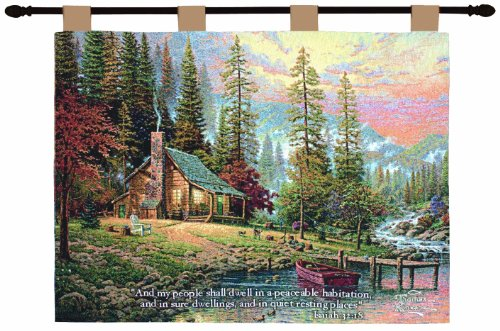 Manual Inspirational Collection 26 X 36-Inch Wall Hanging and Finial Rod, A Peaceful Retreat with Verse by Thomas Kinkade