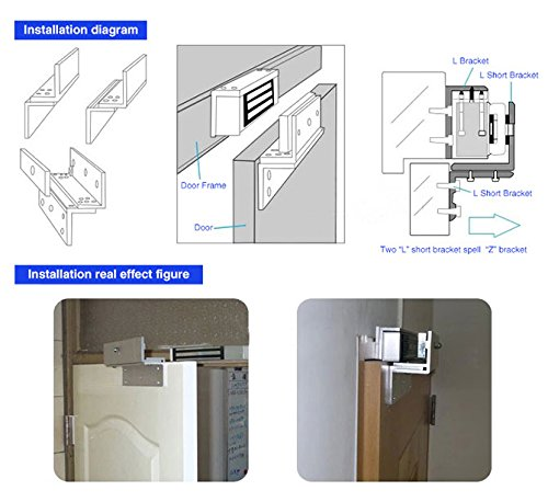 UHPPOTE ZL Holder Stand Bracket Clamp Support For 280KG 600lbs Force Holding Electric Magnetic Lock Inward Door by UHPPOTE (Image #2)