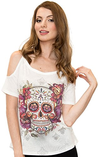 Sweet Gisele | Sugar Skull Shirts for Women | Yoga Top Open Shoulder Tee | Beautiful Print Decorated with Rhinestones