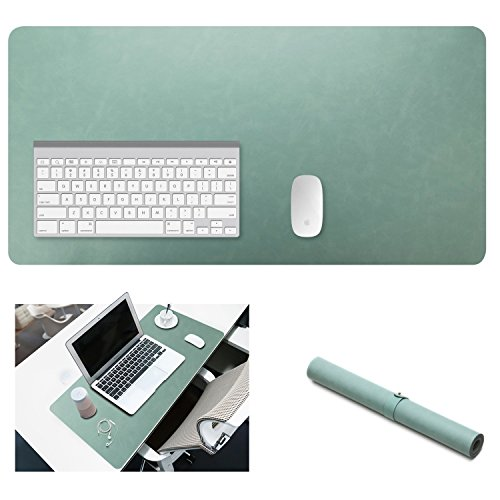Yikda Extended leather Gaming Mouse Pad / Mat, Large Office Writing Desk Computer leather Mat Mousepad,Waterproof,Ultra Thin 1.2mm - 31.5''x15.7'' (Mint green) by Yikda