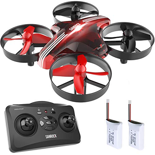 - SANROCK GD65A, Drone for Kids and Beginners, RC Mini Drone Quadcopter with Extra Battery, RTF 4 Channel 2.4G 6-Gyro Remote Control Aircraft with Headless Mode, Altitude Hold, Return Home, 3D Flip.